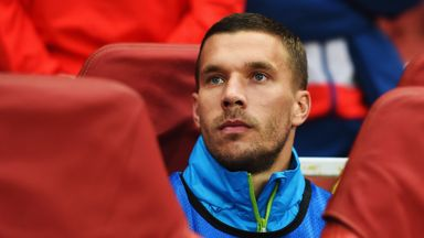 Lukas Podolski: Has watched Arsenal from the bench