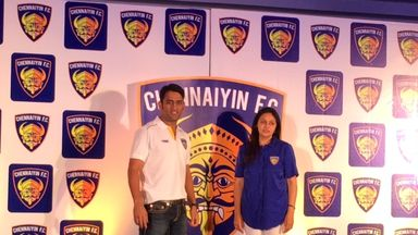 Chennaiyin FC co-owners MS Dhoni and Vita Dani