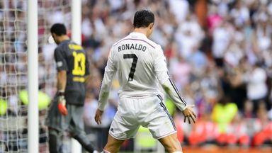 Real Madrid's Cristiano Ronaldo celebrates after scoring a penalty