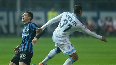 Daniele Baselli (L) of Atalanta BC is challenged by Faouzi Ghoulam of SSC Napoli