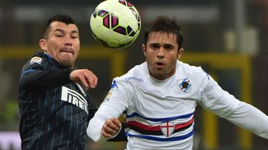Inter Milan's Gary Medel (L) fights for the ball with Sampdoria's Citadin Martins Eder