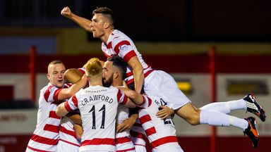 Hamilton's Tony Andreu (not visible) celebrates with team-mates after putting his side 1-0 up.
