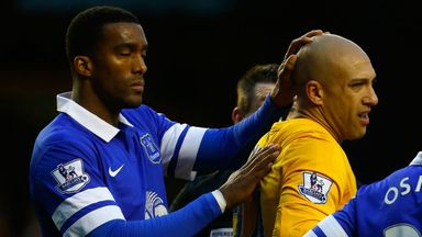 Sylvain Distin (left): With Everton goalkeeper Tim Howard