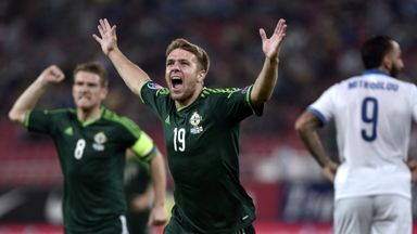 Northern Ireland forward Jamie Ward celebrates after the opening goal.