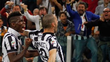 Leonardo Bonucci: Celebrates Juventus' winner against Roma