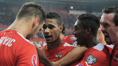 Rubin Okotie: Celebrates scoring the winner for Austria