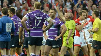 Refeere Phil Bentham sending off Ben Flower of Wigan Warriors during the First Utility Super League Grand Final