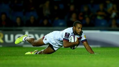 Darly Domvo: Slides over to score a try for Bordeaux in the second half
