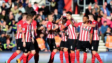 Sadio Mane of Southampton celebrates with team-mates after scoring