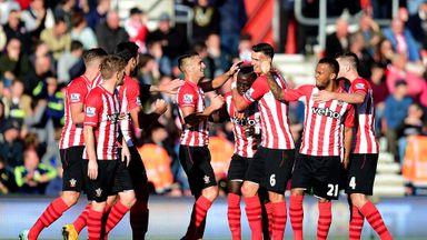 Sadio Mane of Southampton celebrates with team-mates after scoring