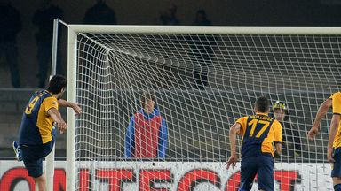 Luca Toni scores from the penalty spot