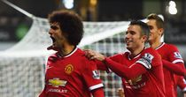 Marouane Fellaini celebrates after scoring against Albion