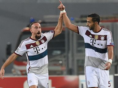 Franck Ribery (left) of Bayern Munich celebrates after scoring