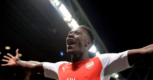 Danny Welbeck: Celebrates his hat-trick strike