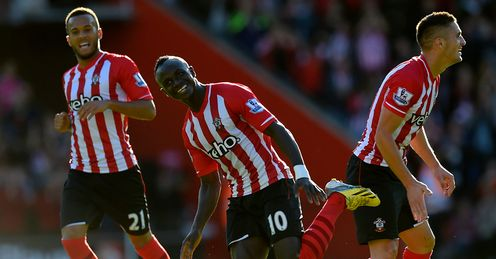 Sadio Mane: Celebrates scoring for Southampton