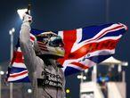 Hamilton celebrates title