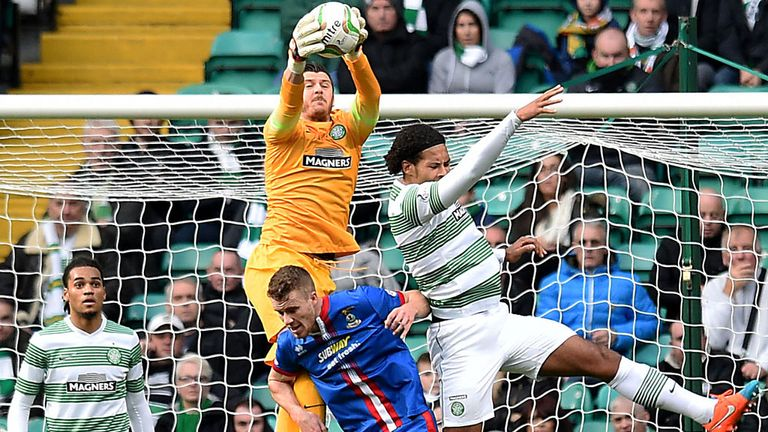 Goalmouth action in Glasgow where Celtic beat Inverness 1-0 with a second half goal from John Guidetti