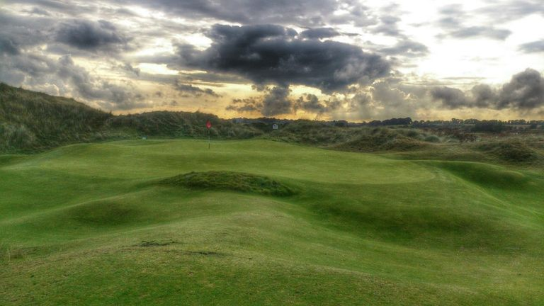 The contoured 14th green at County Louth