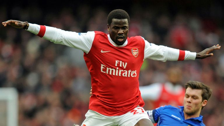 Emmanuel Eboue (left) previously spent six years at Arsenal