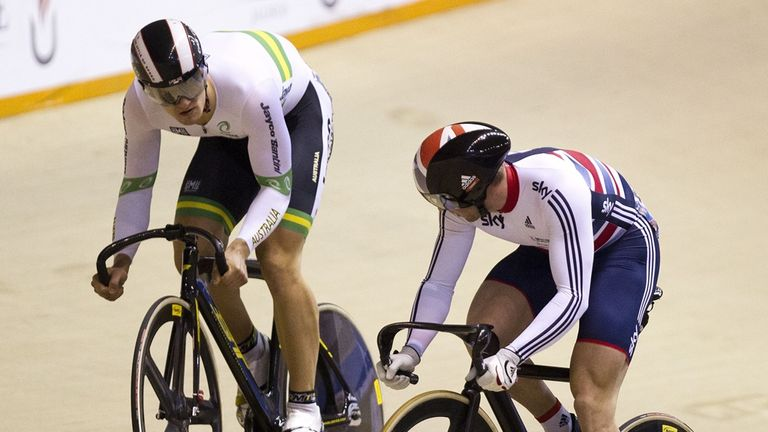 Jason Kenny lost 2-0 in the men's individual sprint final to Matthew Glaetzer