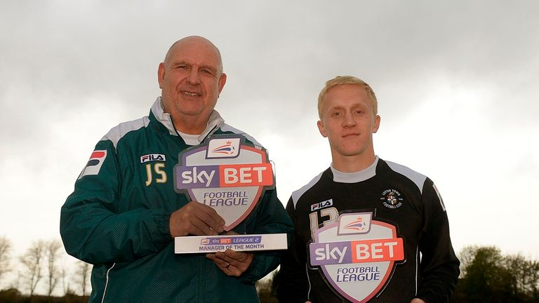 Luton Town's John Still and Mark Cullen with their League Two Manager and Player of the Month awards for October.
