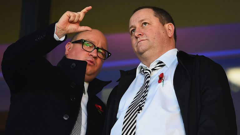 Newcastle managing director Lee Charnley in discussion with owner Mike Ashley