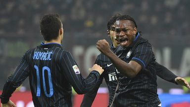 Joel Obi (right): Celebrates scoring equaliser in Milan derby