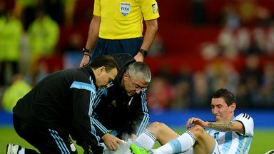 Argentina's Angel Di Maria is treated for an injury