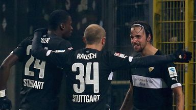 Martin Harnik of Stuttgart celebrates with team-mates