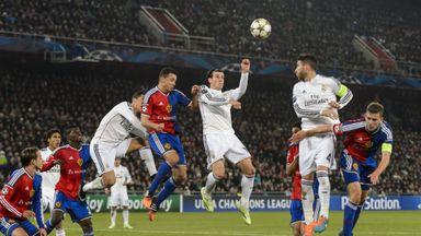 Gareth Bale: Goes up for a header against Basel