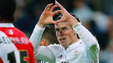 Gareth Bale of Real Madrid celebrates scoring on Saturday night