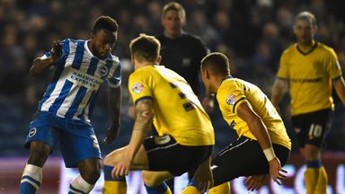 Kazenga LuaLua (l): Netted Brighton's second goal