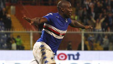 Stefano Okaka: Celebrates scoring for Sampdoria against Milan
