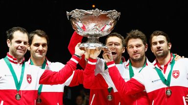 Roger Federer: Celebrates  Davis Cup win with Stanislas Wawrinka , Marco Chiudinelli and Michael Lammer