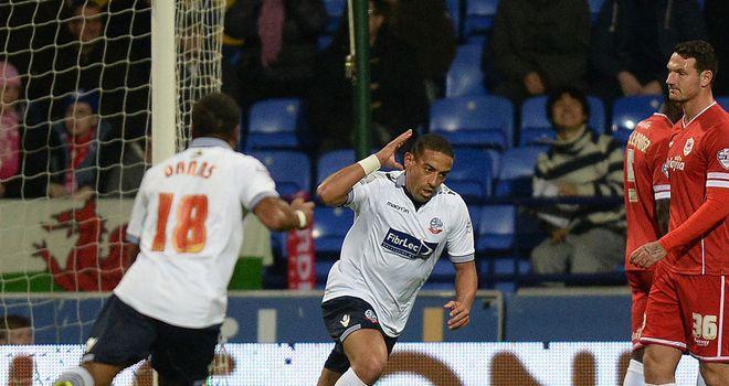 Liam Feeney: Celebrates scoring against Cardiff