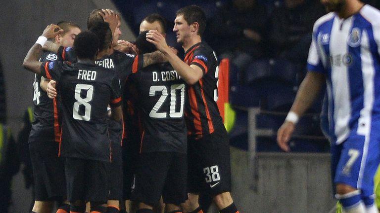Taras Stepanenko: Celebrates with Shakhtar Donetsk team-mates