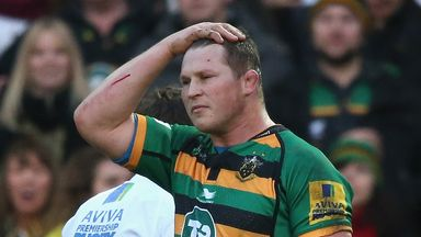 Northampton captain Dylan Hartley walks off the pitch after being sent off by referee JP Doyle during the Aviva Premiership game v Leicester