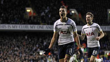 Erik Lamela celebrates scoring his first Premier League goal.