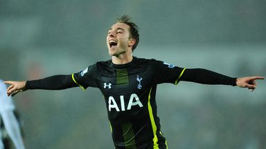 Christian Eriksen celebrates after scoring Spurs