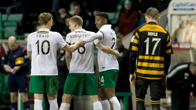 Hibernian's Dominique Malonga (right) celebrates with team-mates after scoring his side's second goal of the match.