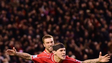 Liverpool's Slovakian defender Skrtel celebrates scoring his team's second equaliser