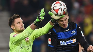 Goalkeeper Sven Ulreich just beats Stefan Kutschke to the ball