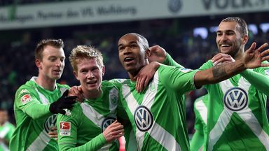 Naldo of Wolfsburg celebrates after scoring his team's second goal