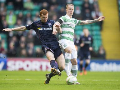 Ross County's Scott Boyd and Leigh Griffiths battle for the ball