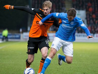 Dundee United's Stuart Armstrong (left) holds off Chris Millar