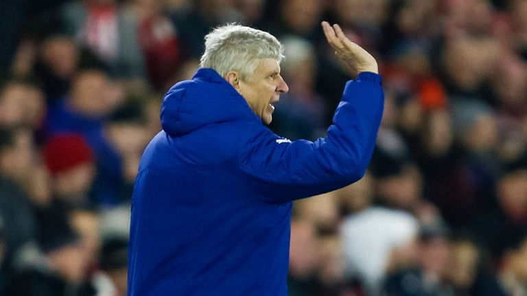 A frustrated Arsene Wenger on the touchline at St Mary's