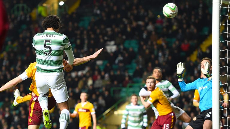 Virgil van Dijk heads Celtic in front against Motherwell