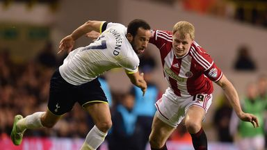 Andros Townsend (l) in action against Sheffield United