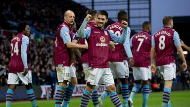 Carles Gil: Celebrates first strike in Villa colours.
