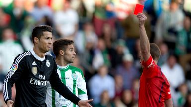 Cristiano Ronaldo is sent off during the La Liga match between Cordoba CF and Real Madrid CF at El Arcangel stadium on January 24, 2015